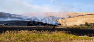 Agricultural Farmers Burn Plant Stalks After Food Harvest Fire