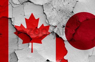 flags of Canada and Japan painted on cracked wall