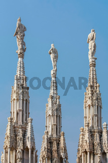 Detail of the skyline of the Duomo in Milan
