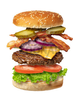 Flying burger on a white background