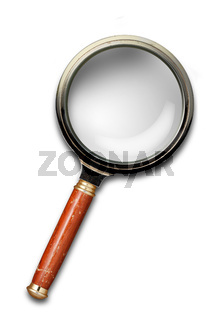 Magnifying glass with shadow isolated on white