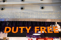 Illuminated duty free sign in airport