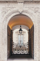 Details of a classic European architecture of historical buildings in Milan, Lombardy region in Northern Italy