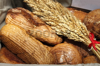 Various kind of fresh bread in a basket