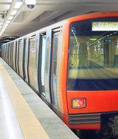 Subway train metro station Lisbon