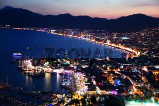 View of Marmaris harbor on Turkish Riviera by night