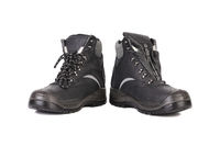 Black man's boots with gray bar.