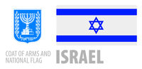 Vector set of the coat of arms and national flag of Israel
