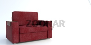 Roter Sessel mit Tablett