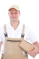 Friendly delivery man or workman with a package