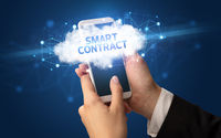 Hand using smartphone with cloud business concept