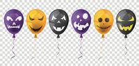 Halloween Balloons Faces Transparent Header