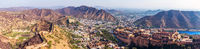 Panorama of India, view of Amber Fort, Amer district in Jaipur and the mountains