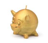 Golden bull beeswax candle