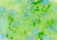 Von Hand mit Wasserfarbe gemaltes Aquarell mit Verlauftechnik in Grün und Blau
