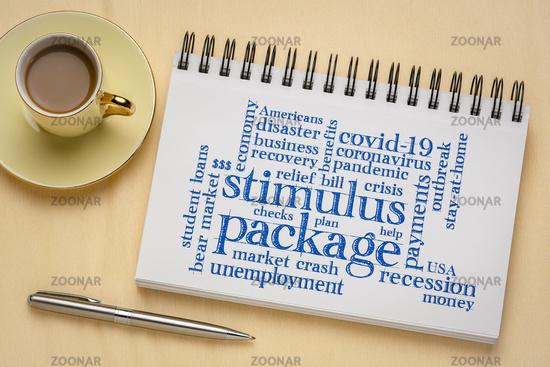 stimulus package word cloud in sketchbook