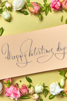 Greeting Valentine's card with natural flowers frame.