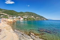 The beach Loutra Aidispsos in Evia island, Greece