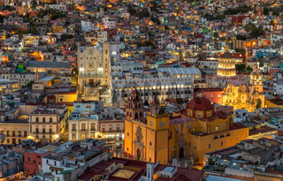 Panoramic view of Guanajuato, Mexico. UNESCO World Heritage Site.