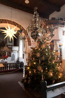 AMRUM, GERMANY - JANUARY 01, 2020: Christmas Tree in the Church of Nebel on the Island Amrum in Germany