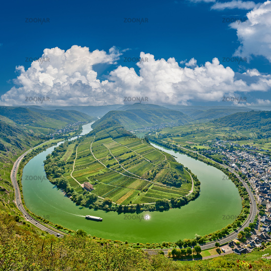 Moselle River bend near Bremm town, Germany