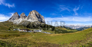 Panorama of Langkofel Group, Grohmannspitze mountain, Fuenffingerspitze mountain and Langkofel Mountain in Italy