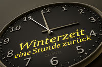 daylight saving winter time one hour back modern black clock style