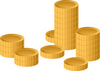 Concept success in business with stack of gold coins, isolated on white background, vector illustration.