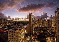 Sunrise cityscape of Waikiki towards the Diamond Head crater in Oahu