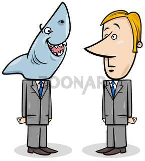 business shark and young businessman concept cartoon