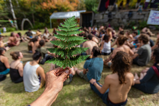 Meditation in nature at earth festival