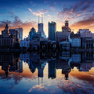 skyline of shanghai chian, sunset landscape