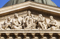 Facade detail of St. Stephen's Basilica in Budapest
