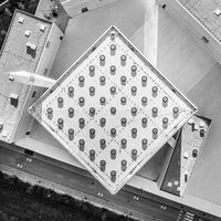 Top aerial view of modern archiecture of islamic religious cultural centre in Ljubljana, Slovenia, Europe. Black and white image