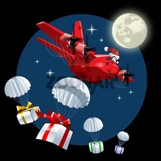 Cartoon Christmas Cargo Airplane
