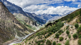 Panorama of Chandra river in Lahaul valley in Himalayas