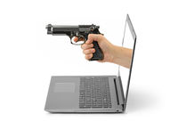 Hand with gun and notebook