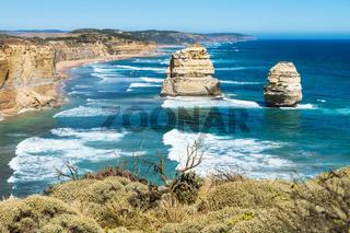 Two of Twelve Apostels overlooking bush at the Great Ocean Road, Victoria, Australia
