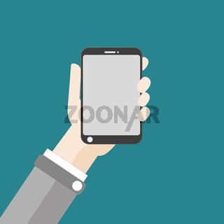 Hand Smartphone Flat Design