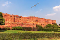 Red Agra Fort Walls, beautiful day view, India