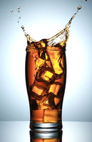 Cold Drink Splash with Ice Cubes