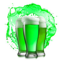 Glasses of green beer on a background of green splash.