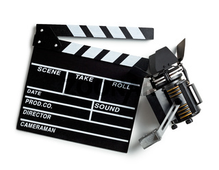 clapper board and movie light