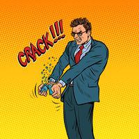 Businessman breaks his smartphone in a rage