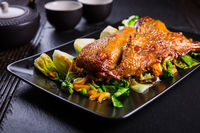 Delicious Peking duck breast with pak choi and vegetables