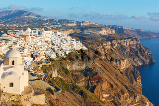 View of Santorini island with Thira town