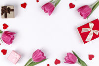 Pink tulips hearts gifts card