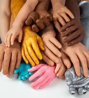Silicone prosthetic hands of different colors and sizes