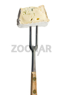 blue cheese on fork