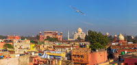 Agra view and Taj Mahal in the background, India